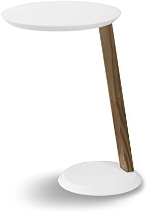 Ruby TAVOLINO Multifunzione Tondo per APPOGGIO su BRACCIOLO Lato Divano SALVASPAZIO Realizzato in Legno Laccato Opaco Bianco per ARREDO Mis.Diametro CM.40 H.60
