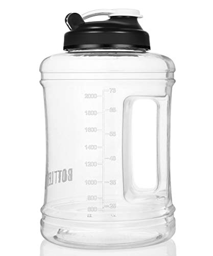 BOTTLED JOY Clear Water Jug Big Large Water Bottle Jug Half Gallon Water Bottle 2.5L Sports Drinking Water Bottle BPA Free Portable with Handle for Gym/sports/camping (Recyclable Water Jug)