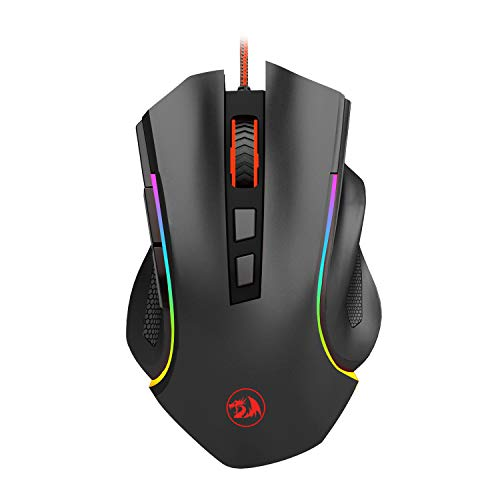 Redragon M602 RGB Wired Gaming Mouse RGB Spectrum Backlit Ergonomic Mouse Griffin Programmable with 7 backlight modes up to 7200 DPI for Windows PC Gamers [Black] (Best Mouse Sensitivity For League Of Legends)