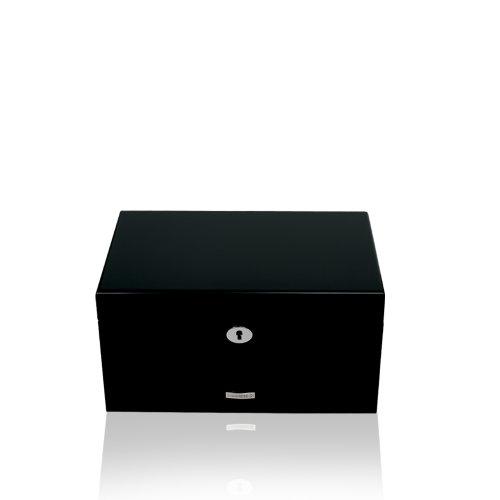 Windrose High Gloss Schmuckkoffer mit 3 Etagen 30 cm schwarz