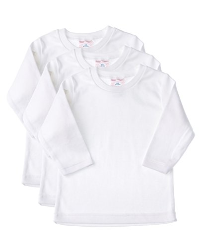 Fine Cotton Undershirt - Baby Jay Long Sleeve Cotton Undershirt T-Shirt, WTLR 6-12 3-Pack