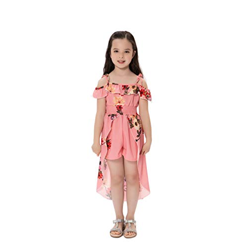 Kids Girls Summer Sling Sweet Floral Dress Elegant Girl Princess Ruffles Irregular Culotte Dresses 3-8 Year (red, 3T)