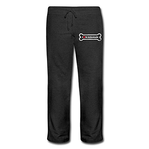 Womens Heavyweight Sweatpants, 100% Cotton I Love My - Goldendoodle Jogger Pants -