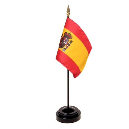 Spain Flag (With Seal) 4X6 Inch Mounted E Gloss by Eder Flag