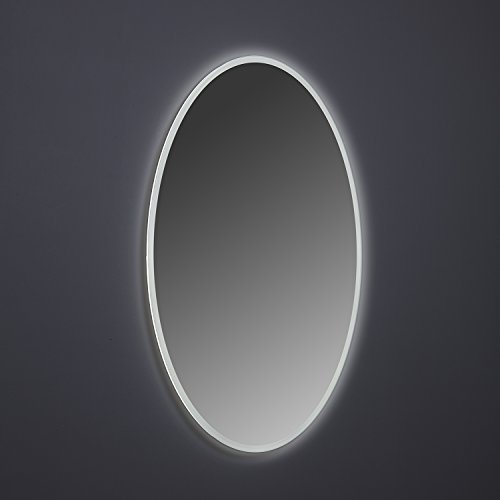 MAYKKE Madison 24'' W x 36'' H Oval LED Mirror, Wall Mounted Lighted Bathroom Vanity Mirror, Frameless Mirror, Horizontal or Vertical Mirror with LED Lighting Border UL Certified, LMA1032401 by Maykke (Image #4)