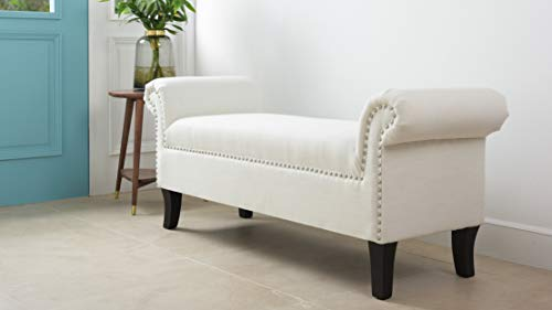 Jennifer Taylor Home Savannah Straight Line Rolled Arm Hand Finished Silver Nailhead Trim Upholstered Entry Bench, White (With Storage Leather Arms Bench)