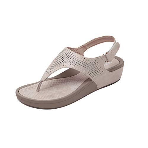 - LIM&Shop Women Flat Sandals Summer Beach Flip Flop Thong T-Strap Flat Rhinestone Beads Slipper BoheElastic Slip On Beige