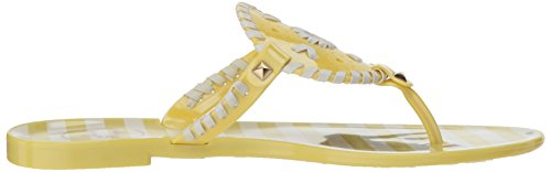 Jack Rogers Women's Striped Georgica Jelly Flat Sandal Iced Lime/White Ebdw2