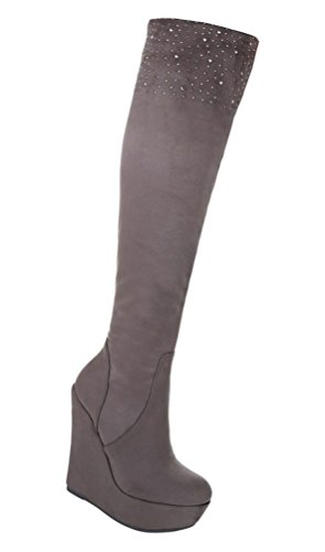 Damen Stiefel Schuhe Keil Wedges Boots Plateau Schwarz Grau 36 37 38 39 40 41 Grau