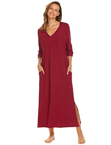 Ekouaer Lounge Dress Women Half Sleeve V-Neck Solid Loose Fit Soft (3/4 Sleeve Nightshirt)