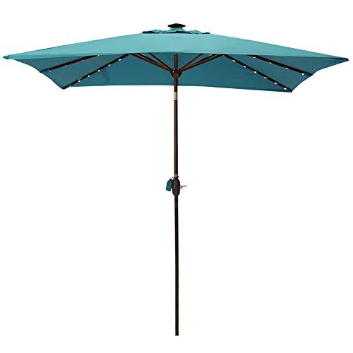 SORARA Patio Umbrella with Solar Powered Rectangular Table Umbrella with Solar Powered 128 LED Lights with Tilt&Crank&Umbrella Cover, 7 by 9 Feet, Aruba ()