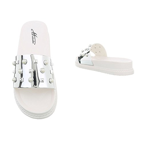 Ital-Design Women's Sandals Flat Mules at Silver D-49 MUavsBNAm