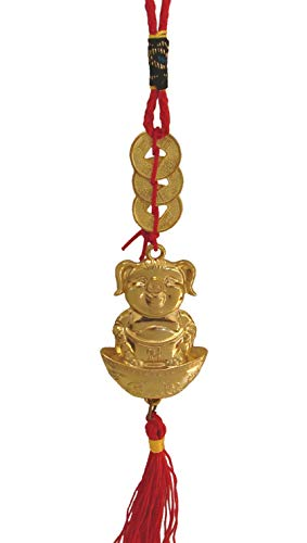 Luck Pig (Feng Shui Import Shinning Gold Pig Charm for Chinese Lunar Year of Pig)