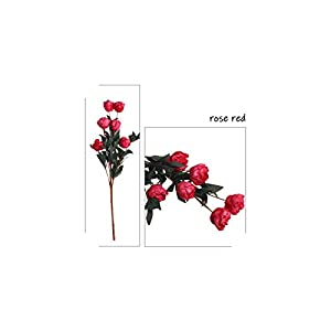V-K-YA 1 Bunch 6 Heads Artificial Rose Flower Home Decor Imitation Fake Flower for Garden Plant Desk Decor Hand-Holding Flower,Rose Red 101