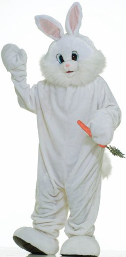 Forum Deluxe Plush Bunny Rabbit Mascot Costume, White,