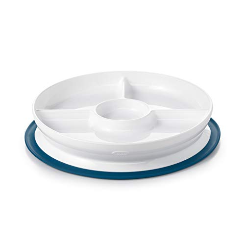 OXO Tot Stick & Stay Suction Divided Plate, Navy