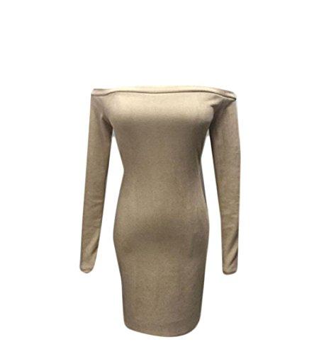 Bodycon Comfy Solid Women Length Dress Long Mid Off Sleeve Shoulder Khaki q7p6P