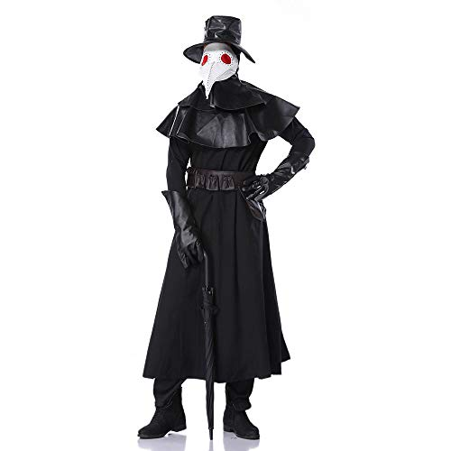 YIBEN Carnival Medieval Steampunk Wind Role-Playing Costume, Halloween Adult Cos European and American Plague Bird Mouth Doctor, Crow Long Mouth -