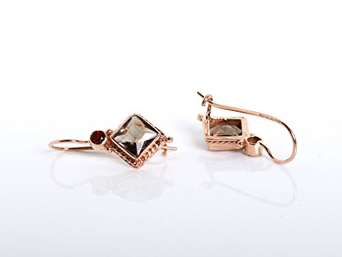 Handmade Victorian Earrings with a Rhombus Smoky Topaz and small garnet in 14K Rose ()