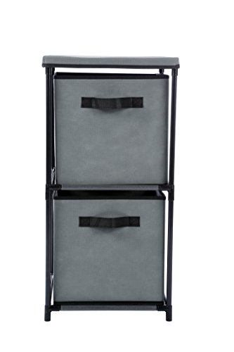 Homebi 2-Drawer Storage Chest Shelf Unit Storage Cabinet Multi-Bin Organizer with Removable Non-woven Fabric Bins in Grey,13.2