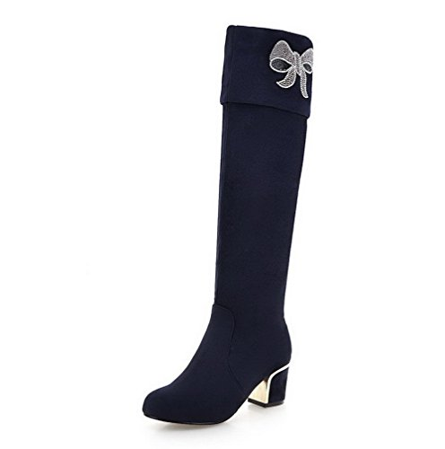 AmoonyFashion Womens High-top Solid Pull-on Closed Round Toe Kitten-Heels Boots Blue oFCaso