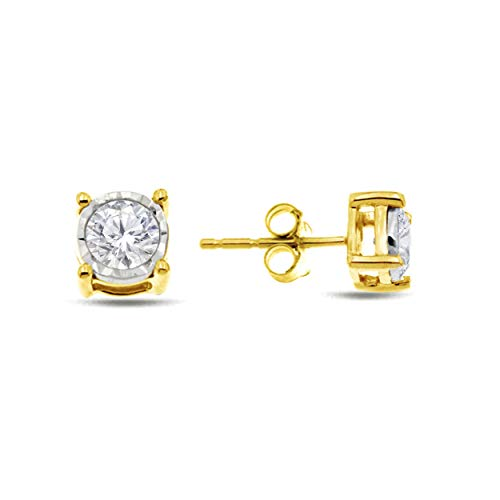 (Natalia Drake Yellow Gold Plated Sterling Silver Miraculous Diamond Stud Halo Earrings (.25ctw, H-I Color, I1-i2 Clarity))