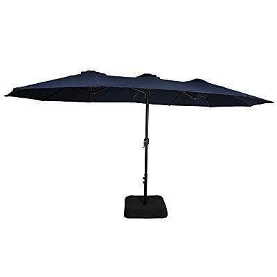 Iwicker 15 Ft Double-Sided Patio Umbrella Outdoor Market Umbrella with Crank, Umbrella Base Included