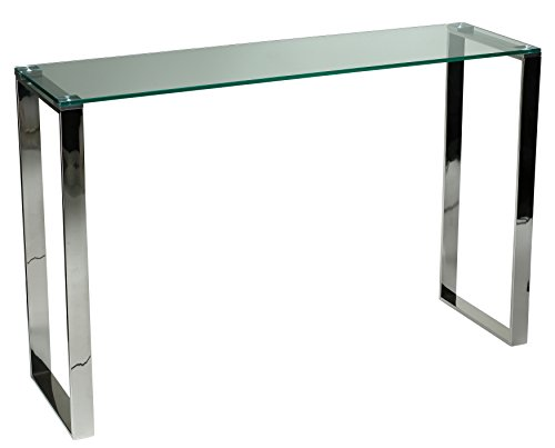 Cortesi Home Remi Contemporary Glass Console Table with Chrome