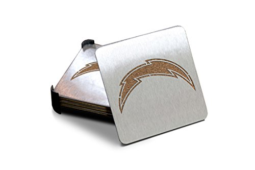 San Diego Chargers Stainless Steel - NFL San Diego Chargers Boasters, Heavy Duty Stainless Steel Coasters, Set of 4