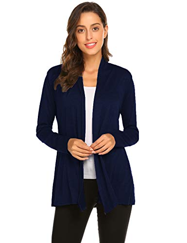 Newchoice Womens Open Front Cardigans Dusters Casual Long Sleeve Lightweight Cardigan Sweaters (Navy Blue, XL)