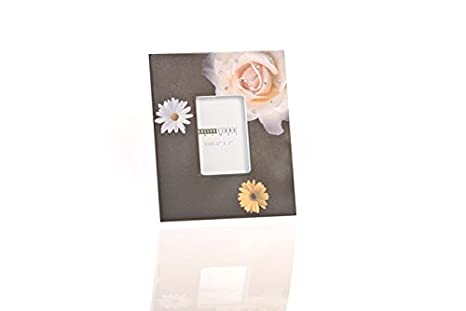 DISOK - Portafotos De Madera Flower Negro Con Brillantes - Detalles para Invitados Bodas, Bautizos