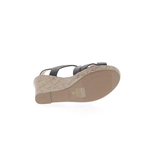 Sandales À Talon Compensé À Talon Compensé Noir De 10 Cm Avec Larges Brides
