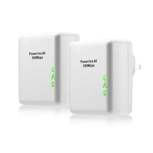TeckNet® AV500 Mini 500 Mbps Powerline-Netzwerkadapter / Networks Adapter Kit mit QoS und Energiesparmodus,Fast Ethernet, Ultra-Kompaktgehäuse - 2er Set