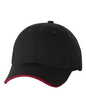 Valucap Twill - Valucap Structured Sandwich Twill Cap, Black/ Red, One Size