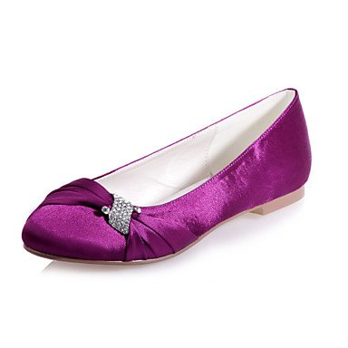 Satin Round Available Wedding Flat UK10 amp;Amp; CN46 US12 EU44 Heel Flats Shoes Party Evening Toe Women'S Shoes More Colors I41Hcq5nSw