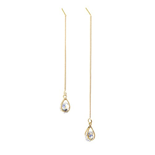 Crystal Chain Drop Earrings - Dolland Threader Drop Earring Dangle Ear Long Water Drop Tassel Chain Retro Rhinestone Crystal Ear Line Jewelry,Gold,One Size