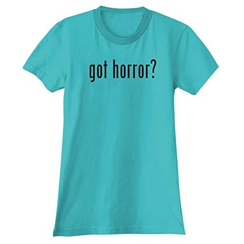 The Town Butler got Horror? - A Soft & Comfortable Women's Junior Cut T-Shirt, Aqua, X-Large (Junior Horror Vhs)
