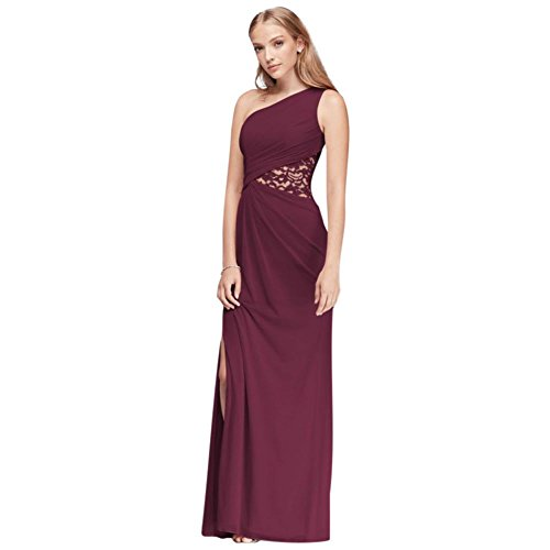 One-Shoulder Mesh Bridesmaid Dress with Lace Inset Style F19419, Wine, 2