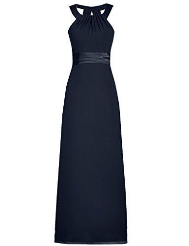 JAEDEN Mujeres Gasa cuello h¨¢lter Vestidos de dama de honor sin mangas Vestido de partido Vestidos de noche Azul marino
