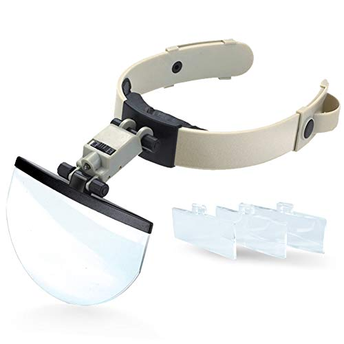 Headband Magnifier Glasses With Led Lamp Light Hands Free Magnifying Glasses Adjustable For Hobby, Electricians, Jewelers, Sewing, Craft, Beauty And Elderly1.5X 2.0X 2.5X 3.5X Times