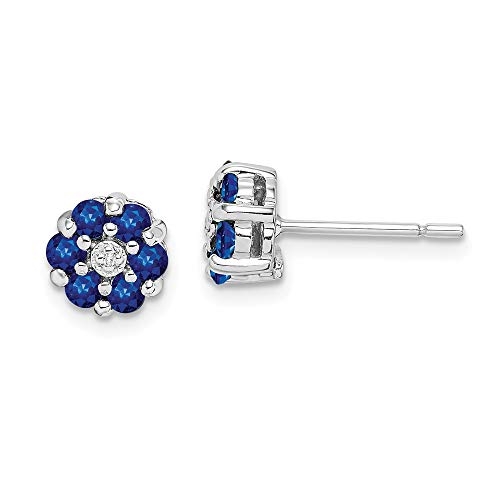 925 Sterling Silver Sapphire Diamond Post Stud Earrings Ball Button Fine Jewelry Gifts For Women For Her
