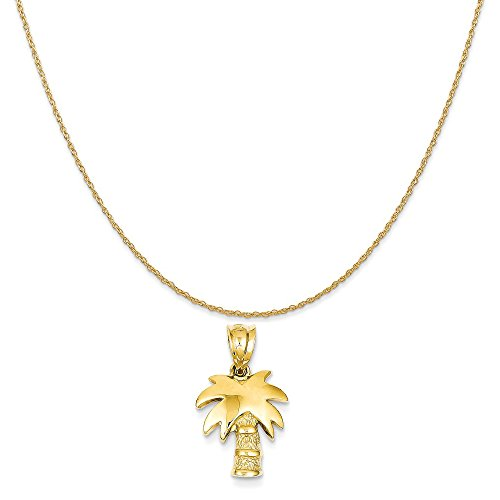14k Yellow Gold Palm Tree Charm on a 14K Yellow Gold Rope Chain Necklace, 18