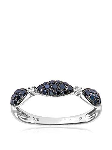 Revoni - Bague demi-Éternité en or blanc 9 carats et diamants blancs et noirs 0,33 carat
