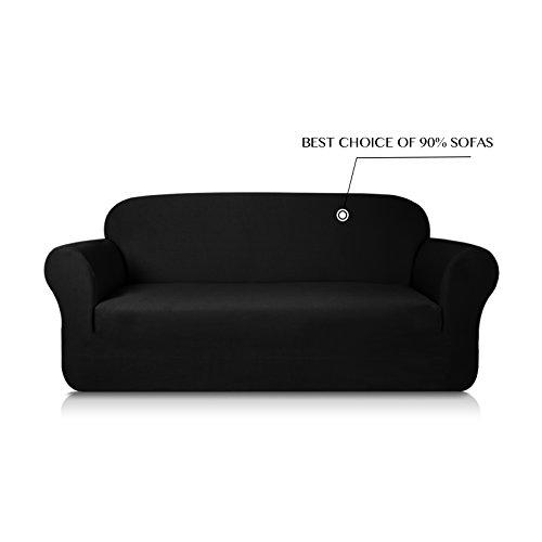 Subrtex 1-Piece Knit Jacquard Spandex Stretch Sofa Slipcovers (Loveseat, Black)