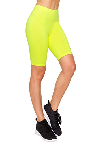 EttelLut Athletic Spandex Volleyball Booty Yoga Shorts for Women-Running Biker Gym Sport Workout Neon Yellow M