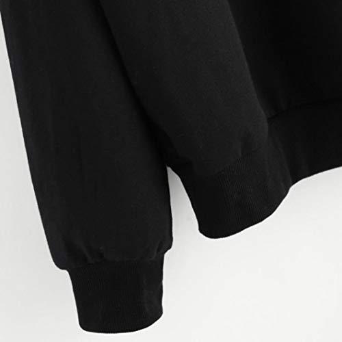 gato ropa Aimee7 mujer oto blusa negro larga camiseta o invierno barata manga xwgAZqX