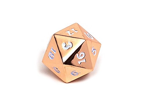- Rose Gold White Metal D20 Dice - Single 20 Sided RPG Dice