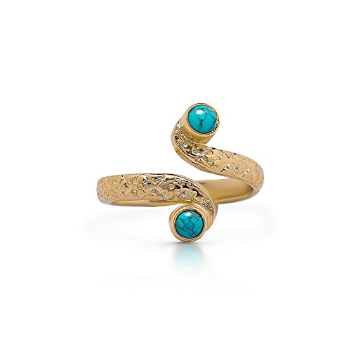 Koral Jewelry 14K Gold Plated Synthetic Turquoise Adjustable Multistone Midi Knuckle/Toe Ring