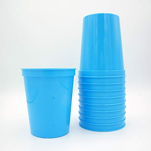 10 Pack - 16 oz Reusable Plastic Stadium Cups - Blank, Reusable or Disposable Unbreakable Tumblers Perfect for Any Party/Fiesta, or Customizable for Marketing and DIY Projects (Light Blue)