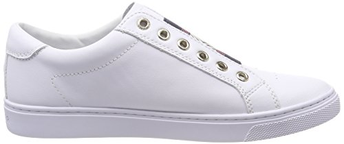 Tommy Hilfiger Metallic Weiß Femme Elastic Iconic Basses Sneakers Sneaker xrrdaqEAw